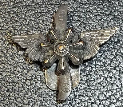 "Gorgeous Antique ""69 M"" Aviation Propeller Winged Pin Army Silver Marked ""800"""
