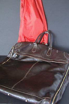 """Solid Leather """"Eddie Bauer"""" Travel / Suit Bag / Overnight Bag …real leather"""