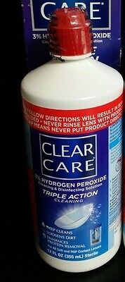 Clear Care Cleaning and Disinfecting Solution 2 sealed bottles 12oz Each NO BOX
