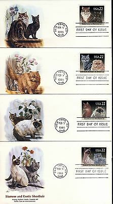 US 1988 Domestic Cats (2386-89)  4 FDC Covers . Fleetwood Cachets