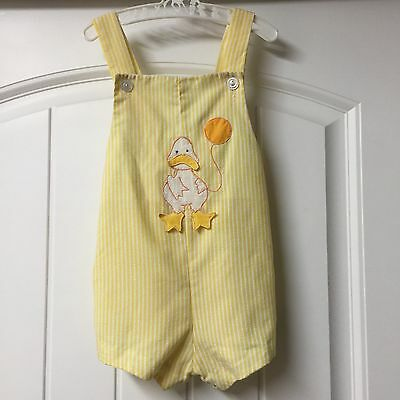 Vtg Yellow Duck Romper Play Suit Animal Pastel Easter Embroidered Appliqué