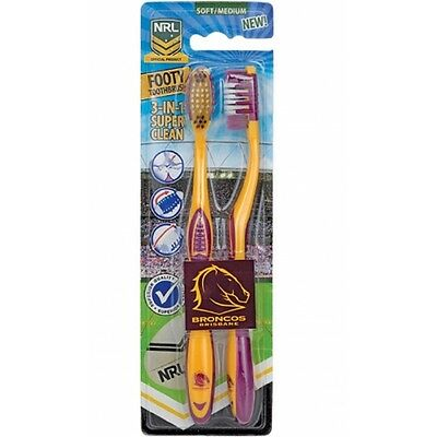 Brisbane Broncos Official NRL Toothbrush Twin Pack