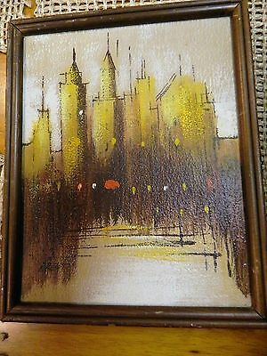 Listed Artist Abstract Oil on Canvas Art Painting Cityscape Skyline Signed