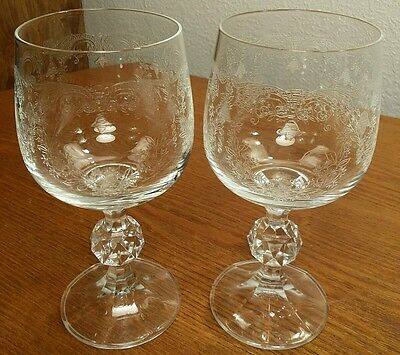 """Bohemian Crystal Cascade Etched 8oz Wine Glasses 5 & 3/4"""" EXC Set Of 2"""