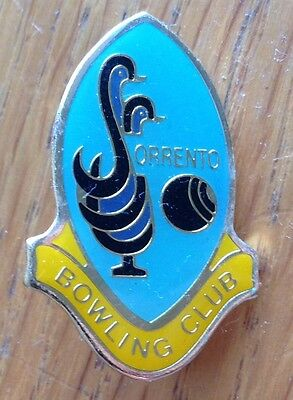 Sorrento Bowling Club Badge Rare Authentic Vintage^