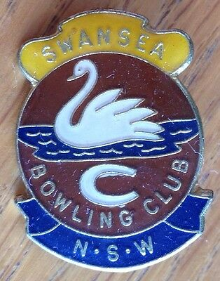 Swansea NSW Bowling Club Badge Rare Swan Authentic Vintage^