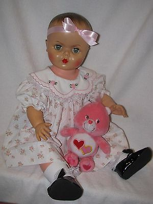 """Large 24"""" Vintage Vinyl Molded Hair Baby Doll Marked APEX"""