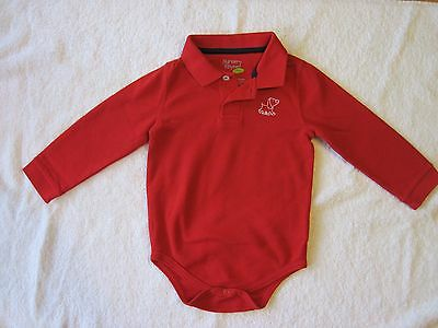 Nursery Rhyme Baby Boy Long Sleeve Polo Collared Red Bodysuit Size 24 Months EUC