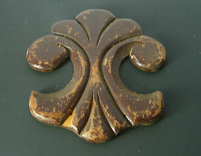 Antique Architectural Salvage Carved Wooden Fluer De Lis  Furniture Onlay