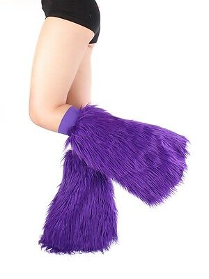 Purple Fluffies - Faux Fur Rave Festival Leg Warmers - Made in USA