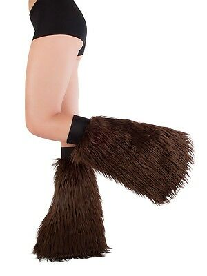 Brown Fluffies - Faux Fur Rave Festival Leg Warmers - Made in USA