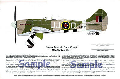 RAF Tempest fighter signed by the Pilot, Aviation Art, Ernie Boyette