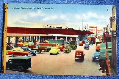 Famous French Market New Orleans Louisiana Linen Photo Postcard