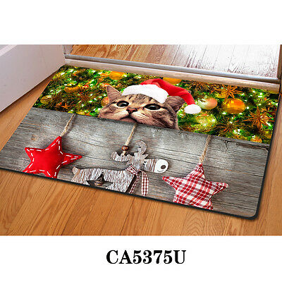 Xmas Gift Animal Cat Cute Welcome Doormat Room Front Carpets Non-slip Rugs Mats