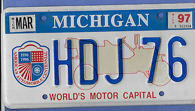 "1997 Michigan ""World's Motor Capital"" License Plate"