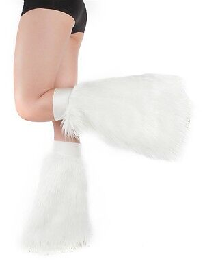White Fluffies - Faux Fur Rave Festival Leg Warmers - Made in USA