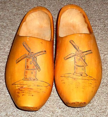 Fabulous Made in Holland Hand Made Wood Wooden Shoes Windmill Design Sz. 10 1/2