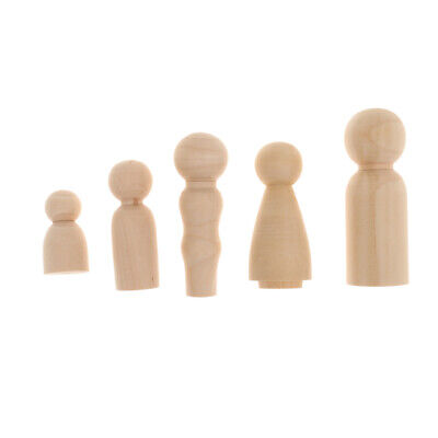 Family of 5pcs Wooden Peg Doll Little People Peg Child Doll DIY Craft