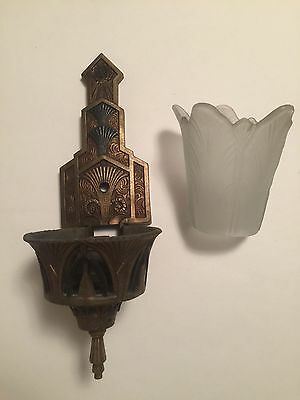 Vintage Art Deco Wall Sconce Slip Shade Glass Light Fixture Signed Kaylite