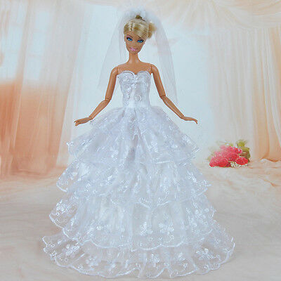Handmade Doll Clothes White Wedding Dress Party Gown With Veil for Barbie Doll S