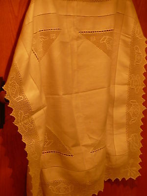 Vintage White Linen Tea Table Cloth Handworked Lace Centres & Edges,drawn Thread