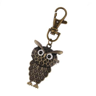 Vintage Bronze Owl-shape Pocket Key Ring Watch Jewelry Gifts