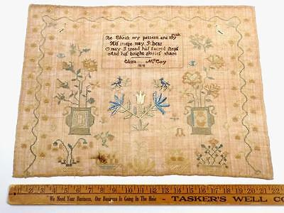 Superb AMERICAN QUAKER, Eliza McCoy 1818, Large PICTORIAL Motifs Antique SAMPLER