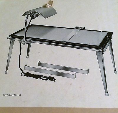 50HEYER SUPERSCOPE Illuminated Drawing & Tracing Light Table LOCKING T SQUARE