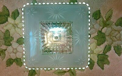 Vintage Art Deco Ceiling Light Fixture Square Frosted Shade Glass Hobnail