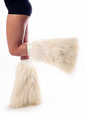 White Sparkle Fluffies - Faux Fur Glitter Leg Warmers - Made in USA