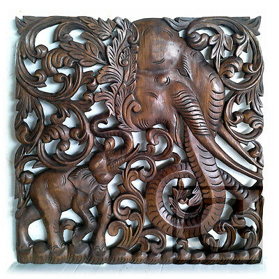 5 x 5 ft. Stained Teak Wood Carving Home Wall Panel Mural Art Decor #01 FS gtahy