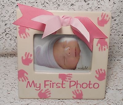 "Ceramic Mud Pie Baby Girl Infant ""My First Photo"" Picture Frame with Pink Bow"