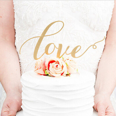 LOVE Cake Topper Sparkle Glitter Gold Wedding  Decorating Engagement Party CA
