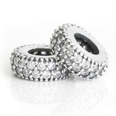 WHITE PAVE Solid Sterling Silver Sparkling Stones Spacer Charm Bead for Bracelet