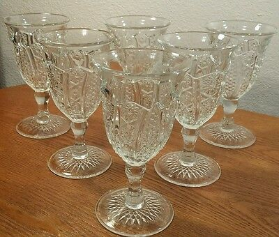 6 Antique Hobstar Corn Cob Feather Pattern Wine/Water Goblets Glasses EXC!