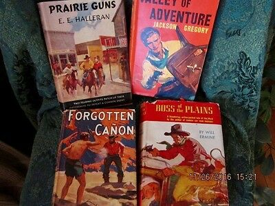vintage western book lot hardback lot of 4 with dust jackets Cabin/Lodge decor