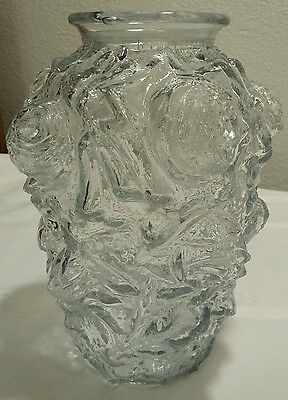 Early 1900's Goofus Clear Glass Rose Embossed Pickle Jar/Vase VERY NICE COND!