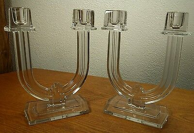2 Heisey New Era Clear Glass Double Candlestick Candle Holders EXCELLENT COND!