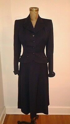 1940's Navy Blue Suit Full Swing Skirt Fitted Jacket Secretary