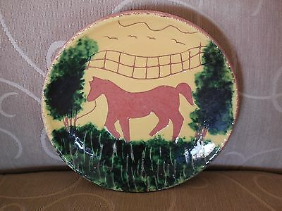 Handmade Handcrafted Art Pottery Horse Plate - Paint over Terra Cotta
