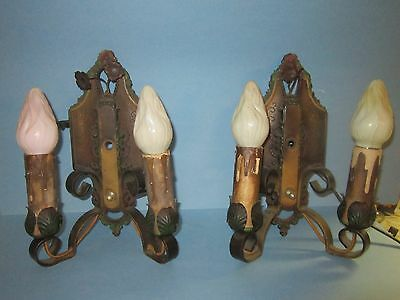 Vintage Double Arm Sconces 1920s wall lights by Lincoln #904 Pair Original Paint