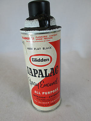 Vintage 1950's Glidden Japalac flat black empty aerosol spray paint can