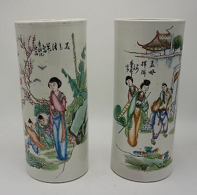 A Pair of Antique 19th/Early 20th Chinese Famille Rose Vases/Hat Stands