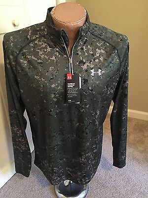 Under Armour Run Fitted Long Sleeve Pullover Zipper Top Men's Large Green Camo