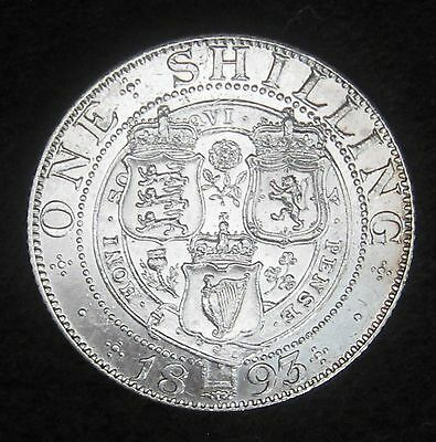 1893 Silver Great Britain Shilling Circulated Coin * Stunning*