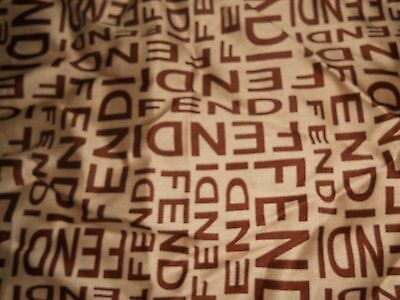 "Nice Authentic Fendi Tan Brown  100% Cotton 19"" Square Scarf Handkerchief"