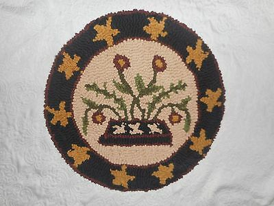 Folk Art PATRIOTIC 4th of July Hooked CHAIR PAD 100% Cotton