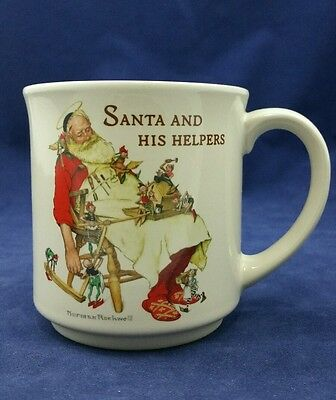 "1988 Hallmark Norman Rockwell ""Santa And His Helpers"" Coffee Mug"