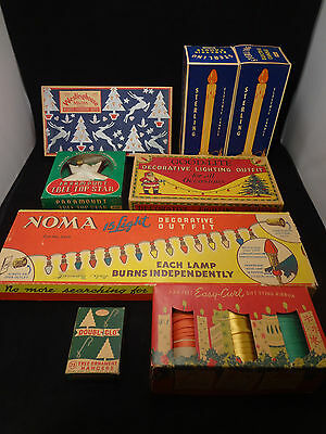 Vintage Christmas Light Boxes , Ribbons and Ornament Hooks. Art deco