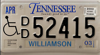 2003 Tennessee Handicapped License Plate